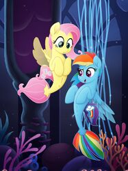 2017 absurd_res cutie_mark duo female fluttershy_(mlp) friendship_is_magic hair hi_res hooves long_hair multicolored_hair my_little_pony my_little_pony_the_movie open_mouth pink_hair rainbow_dash_(mlp) rainbow_hair sea_pony selenophile