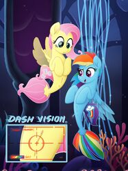 2017 absurd_res cutie_mark duo english_text female fluttershy_(mlp) friendship_is_magic hair hi_res hooves long_hair multicolored_hair my_little_pony my_little_pony_the_movie open_mouth pink_hair rainbow_dash_(mlp) rainbow_hair sea_pony selenophile text