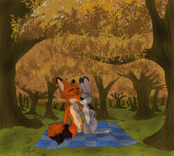 anthro autumn canine disney female forest fox grass hi_res i_ship_it_real_hard judy_hopps kneeling lagomorph mammal nick_wilde nude outside rabbit smile solid_color tree zootopia