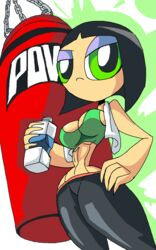 1girl aged_up big_breasts black_hair bottle busty buttercup buttercup_(powerpuff_girls) cartoon_network chains cleavage curvy detailed_background eyeshadow female female_only front_view green_eyes half-closed_eyes hand_on_hips hands_on_hip hands_on_hips holding_object hourglass_figure human looking_at_viewer manic47 midriff powerpuff_girls punching_bag shiny shiny_skin short_hair solo solo_female sports_bra standing superheroine tight_pants voluptuous wide_hips yoga_pants