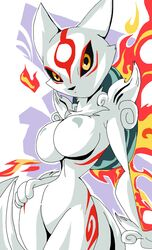 1girl amaterasu animal_ears anthro big_breasts black_eyes black_nose busty capcom cleavage crossover curvy detailed_background female female_only flame fluffy_tail front_view fur furry fusion hourglass_figure humanoid japanese_mythology kitsune looking_at_viewer mammal manic47 marking markings mythology okami pose posing solo solo_female standing video_game video_games voluptuous white_fur wide_hips