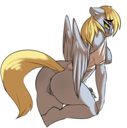 2014 anthro anthrofied anus ass avante92 blonde_hair blush breasts derpy_hooves equine feathered_wings feathers female friendship_is_magic furry grey_feathers highres looking_at_viewer mammal my_little_pony nipples pegasus pussy shirt simple_background solo undressing white_background wings yellow_eyes