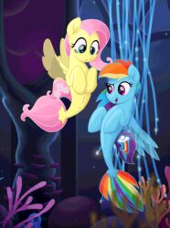 2017 animated cutie_mark duo female fluttershy_(mlp) friendship_is_magic hair hi_res hooves long_hair multicolored_hair my_little_pony my_little_pony_the_movie open_mouth pink_hair rainbow_dash_(mlp) rainbow_hair sea_pony selenophile