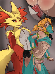 1boy anal anal_sex androgynous anthro balls blue_eyes breasts breath_of_the_wild clothed clothing crossdressing cum delphox duo erection femboy fur gerudo_link gerudo_sirwal gerudo_top gerudo_veil girly hair humanoid hylian intersex intersex/male link male nintendo penetration penis pokemon rainbow-flyer sex testicles the_legend_of_zelda trap video_games