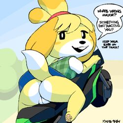 animal_crossing anthro ass bike canine clothing dialogue dog english_text female female_only fur isabelle_(animal_crossing) looking_back mammal mario_kart motorcycle nintendo no_panties open_mouth plump_labia pussy shih_tzu skirt solo text upskirt video_games wheels xylas