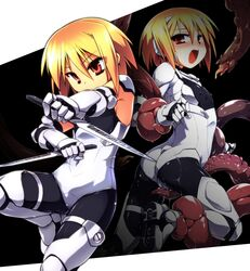 armor ass blonde_hair blush bodysuit boots brown_eyes cameltoe dual_wielding erect_nipples female fighting_stance flat_chest frottage gauntlets imminent_rape knife leg_lift leotard open_mouth original restrained short_hair slime solo standing standing_on_one_leg tentacle tomoshibi_hidekazu white_leotard
