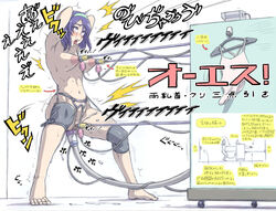ahe_gao arms_behind_head barefoot blue_hair blush bob_cut bondage breasts commentary crying directional_arrow drooling egg_vibrator female ha_ku_ronofu_jin impregnation moaning nipples nude object_insertion original predicament_bondage purple_eyes saliva sex_machine shaved_pussy short_hair solo spread_legs tiptoes tongue tongue_out translated trembling vaginal_object_insertion vaginal_penetration vibrator