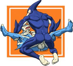5_toes alien anal anal_sex anthro ball blush cetacean cum dolphin lying male male/male mammal marine missionary_position muscular neo-spacian_aqua_dolphin neo-spacian_marine_dolphin on_back penetration penis sex snoopjay2 sweat toes yu-gi-oh! yugioh_gx
