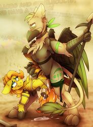 avian beak claws cum cutie_mark duo equine fan_character feathered_wings feathers female fur green_eyes gryphon holding_object holding_weapon hooves male male/female mammal my_little_pony penetration ralekarts sex vaginal_penetration vaginal_penetration weapon wings yellow_fur