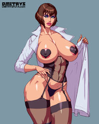 1girl areola areolae big_breasts bimbo bob_cut breasts busty cleavage dmitrys eyeshadow female female_only garter_belt garter_straps lab_coat large_breasts lipstick looking_at_viewer makeup nipples pasties solo thighhighs voluptuous