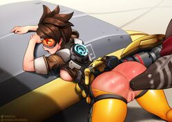 anal anal_fisting anus ass bent_over breasts brown_hair dark-skinned_male doomfist female fisting goggles interracial male neocoill open_mouth overwatch pussy short_hair straight tracer