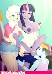 2015 animal_genitalia animal_penis anthro anthrofied applejack_(mlp) areola ball_lick balls breast_grab breasts clothed clothing cock_ring dickgirl dickgirl/female earth_pony equine equine_penis erection female freckles friendship_is_magic fur group hair half-closed_eyes hand_on_breast hi_res horn horse human intersex intersex/female lactating licking long_hair mammal milk multicolored_hair my_little_pony nipples not_furry oral outside penis pony precum pubes purple_fur purple_hair rainbow_dash_(mlp) rainbow_hair sex tongue tongue_out tsudamaku twilight_sparkle_(mlp) two_tone_hair underwear vein