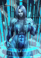 abs blue_hair blue_skin breasts cortana female halo_(series) large_breasts musclefan muscles muscular_female solo