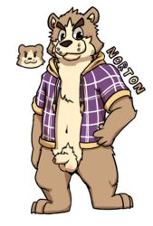 al-cat anthro balls bear blush bottomless brown_eyes clothed clothing foreskin humanoid_penis mammal navel norton_(al-cat) open_jacket penis simple_background standing uncut