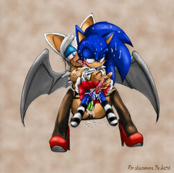 balls crossdressing gatoh leggings pegging penis rouge_the_bat sonic_(series) sonic_the_hedgehog stockings sweaty vaginal_penetration