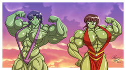 abs biceps bikini blue_eyes blue_hair breasts brown_eyes brown_hair extreme_muscles female female_only flexing large_breasts lunardiaries marvel misato_katsuragi muscles muscular_female nabiki_tendo neon_genesis_evangelion ranma_1/2 she-hulk
