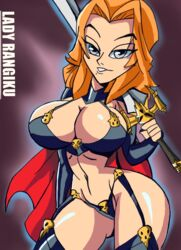 1girl arms_up big_breasts bikini bikini_bottom bleach bracer busty cape chaos_comics cleavage cosplay crossover curvy disney eyeliner female female_only front_view garter garter_straps gray_hair holding_object hourglass_figure human lady_death long_hair looking_at_viewer manic47 matsumoto_rangiku midriff orange_hair pose posing rangiku_matsumoto shiny shiny_skin simple_background solo standing sword voluptuous weapon wide_hips