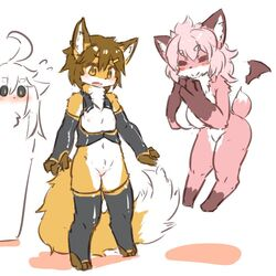 2girls artist_request breasts breasts_swap brown_hair flat_chested fox furry pink_hair smile