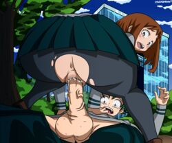 :o anus ass blush blush_stickers boku_no_hero_academia brown_hair building cowgirl_position cowgirl_position freckles from_behind green_hair highres huge_ass looking_back lying midoriya_izuku no_panties on_back open_mouth outdoors penis pov pussy pussy_juice school_uniform skirt tears testicles torn_pantyhose tree uncensored uraraka_ochako vaginal_penetration veiny_penis wavy_mouth
