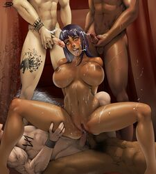 4boys anal anal_sex anus areolae big_breasts breasts cum cumshot dark-skinned_female dark_skin double_anal double_penetration erection female interracial large_breasts legend_of_queen_opala male megadeath nipples nude osira penetration penis pussy pussy_juice sex spread_legs straight