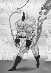 amazon amazon_(dragon's_crown) boots breasts chains dragon's_crown female long_hair monochrome muscles muscular_female orc pegius veins