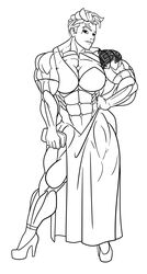 abs big_muscles breasts dress elbow_gloves female gloves high_heels muscles muscular_female overwatch rssam000 scar solo tattoos zarya