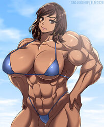 abs big_breasts big_muscles bikini breasts brown_eyes brown_hair elee0228 female gao-lukchup muscles muscular_female overwatch pharah solo thong