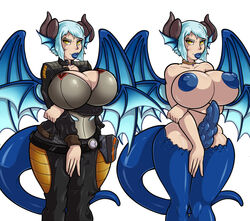 adjatha animal_humanoid big_breasts blue_hair breasts clothed clothing dickgirl dragon dragon_humanoid erection fin hair horn humanoid intersex nipples nude penis pose scales skimpy smile solo trials_in_tainted_space voluptuous wings