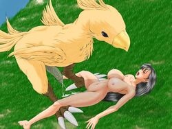 avian breasts chocobo cum cum_drip dripping female final_fantasy final_fantasy_vii interspecies low_res lying monster on_back penis pussy square_enix tifa_lockhart video_games