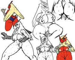 abs ass blaziken blue_eyes blue_shorts blush breasts claws clitoris disembodied_penis erection female fighting_stance from_behind furry half-closed_eyes hand_on_hip hand_up hands_up highres large_breasts legs_apart looking_away looking_back looking_down looking_to_the_side motion_lines multiple_views navel nipples no_humans open_mouth partially_colored penis pokemon pokemon_(creature) pokemon_rse pussy self_fondle sev_(pelao0o) sex short_shorts shorts simple_background sitting sketch smile solo sports_bra spread_legs standing steam straight sweat tail thumbs_up towel uncensored vaginal_penetration white_background white_towel wide_hips yellow_sclera