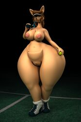 2017 3d_(artwork) abigail_roo anthro anthroanim areola ass ball big_butt breasts brown_hair digital_media_(artwork) female hair holding_ball huge_butt hyper inverted_nipples kangaroo looking_at_viewer mammal marsupial navel nipples nude pussy simple_background smile solo tennis_ball thick_thighs wide_hips