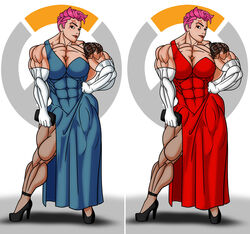abs big_muscles breasts dress elbow_gloves female gloves high_heels muscles muscular_female overwatch rssam000 scar solo stockings tattoos zarya