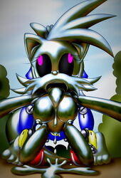 big_eyes big_head fiona_fox goo_creature humanoid_penis liquid liquid_metal machine metal_sonic penis robot silverslime slime sonic_(series) toony transformation