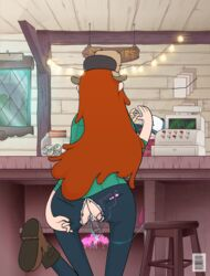 ass crotch_cutout female female_only gravity_falls insertion issue_69 masturbation pussy sex_toy solo torn_clothes torn_jeans vaginal_insertion vibrator wendy_corduroy