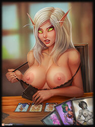 areolae big_breasts blood_elf bra breasts cards elf female female_only large_breasts looking_at_viewer nipples pointy_ears solo_focus undressing vempire world_of_warcraft