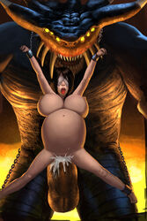 balls belly_riding big_breasts big_penis black_hair blindfold bound breasts chains cum cum_inside demon demon's_souls erection female hair horn human inflation kaihlan large_insertion maiden_in_black male male/female mammal multi_eye not_furry nude open_mouth penetration penis restrained sex stomach_bulge vaginal_penetration