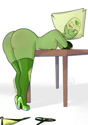 areolae ass bent_over blushmallet breasts female female_only nipples peridot_(steven_universe) pussy solo steven_universe thighhighs