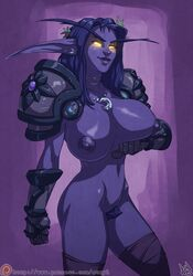 2017 areola armor atryl breasts elf fantasy female glowing glowing_eyes hi_res humanoid night_elf nipples pubes pussy solo unconvincing_armor video_games warcraft warrior world_of_warcraft yellow_eyes