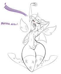 2017 alicorn anthro anthrofied awake blush bottomless breasts clothed clothing dialogue drooling english_text equine flat_chested friendship_is_magic horn jrvanesbroek legwear mammal my_little_pony nipples open_mouth pajamas pussy saliva shirt skinny small_breasts socks stretching text thigh_highs tired twilight_sparkle_(mlp) wide_hips wings yawn