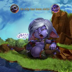 2015 areola belly breasts burping bushes drooling english_text erect_nipples female grass hi_res league_of_legends lulu_the_fae_sorceress nipples not_furry open_mouth penis pussy reclining riot_games river saliva solo spread_legs spreading stomach_bulge stuffing text theboogie tristana video_games vore yordle