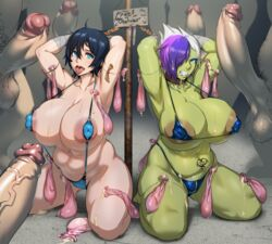 2girls 5boys areolae bikini black_hair blue_eyes breasts chained choker clenched_teeth collar condom cum cum_on_body cum_on_breasts cum_on_clothes cum_on_floor cum_on_upper_body curvy erect_nipples erection fat fat_man gangbang green_skin group_sex hair_between_eyes huge_breasts huge_cock huge_testicles jewelry kneeling kunaboto large_areolae looking_at_viewer micro_bikini midriff multicolored_hair multiple_boys multiple_girls multiple_penises myria myria_loussier navel nipples nose_ring open_mouth penis piercing pink_hair plump pregnancy_test prostitution public_use puffy_nipples purple_hair short_hair sling_bikini testicles thick_thighs thighs tongue tongue_out uncensored used_condom veiny_penis vem white_hair