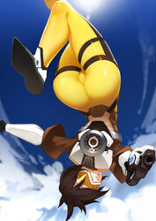 ass bodysuit cameltoe clothed female from_behind grin looking_at_viewer nero_(nilu) overwatch short_hair skin_tight solo thick_thighs thigh_gap thigh_strap thighs tracer wide_hips