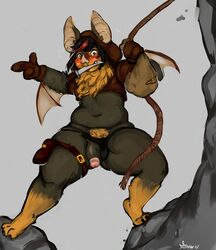 2017 3_fingers 3_toes :3 action_pose anthro bag barefoot bat belly biped black_clothing black_fur black_hair black_penis blush body_hair brown_clothing brown_eyes brown_fur chest_tuft claws cliff clothing coin crop_top dagger deep_navel digital_media_(artwork) digital_painting_(artwork) digitigrade embarrassed exposed fangs flaccid fluffy flying_sweatdrops full-length_portrait fur gold_(metal) gold_coin grey_background guwu hair happy_trail hi_res hindpaw holding_object hoodie humanoid_hands looking_at_penis looking_down male mammal markings melee_weapon membranous_wings multicolored_fur multicolored_hair navel object_in_mouth outside overweight overweight_male paws penis pointing portrait red_hair rope sev_(pelao0o) shirt short_hair signature simple_background socks_(marking) solo spread_wings standing sweat sweatdrop thong toe_claws toes tuft two_tone_fur two_tone_hair underwear underwear_aside wardrobe_malfunction weapon wings