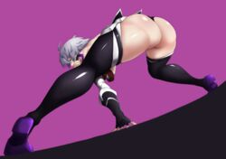 ass assassin_of_black bent_over big_ass f.w.zholic fate/apocrypha fate/grand_order fate_(series) female female female_only fingerless_gloves solo thick_thighs thigh_boots thighhighs thong voluptuous wide_hips