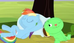 balls crossover cum cumshot cutie_mark duo ejaculation equine fan_character friendship_is_magic green_skin hair happy_tree_friends lying mammal masturbation multicolored_hair my_little_pony nude on_back one_eye_closed orgasm pegasus penile_masturbation penis pillow porygon2z rainbow_dash_(mlp) reptile scalie shadow shell shell-less tree turtle wings