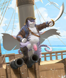 barazoku boots bottomless captain clothed clothing cutlass feline flaccid footwear justin male mammal melee_weapon penis pirate ship stripes sword takahirosi tiger vehicle weapon