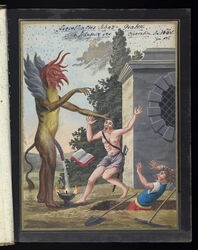 1668 5_fingers absurd_res ancient_furry_art anthro avian bird black_eyes black_hair black_penis book brown_fur brown_hair building chicken clothed clothing cloud compendium_of_magic_and_demonology digging fire fur goblet grass grey_fur group hair hair_grab hi_res hill hole_(pit) human hybrid light_skin male mammal medieval_art melee_weapon monster moon multicolored_fur navel nightmare_fuel nipples nude open_mouth outside partially_clothed peeing penis pickaxe plantigrade raised_arm red_skin scared screaming shirt shorts shoulder_tuft shovel skirt sky standing stripes sword teeth text tongue tools topless traditional_media_(artwork) translated tree unknown_artist unusual_penis urine weapon yellow_fur yellow_sclera