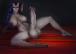areola areolae balls bemma big_breasts breasts demon dickgirl erect_nipples erection futa_solo futanari gigantic_penis gigantic_testicles grey_skin hips horns huge_balls huge_breasts huge_nipples huge_penis huge_testicles hyper hyper_penis hyper_testicles intersex large_breasts long_hair looking_at_viewer nipples nude penis perky_breasts pink_eyes pointy_ears pose puffy_areola solo spread_legs spreading testicles thighs veiny_penis