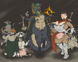 4_breasts ambiguous_gender anthro armor ass bovine breastplate breasts cattle collar dragon eyewear female fenris49 glasses group lactating leash mammal melee_weapon multi_breast pussy sword teats transformation udders weapon