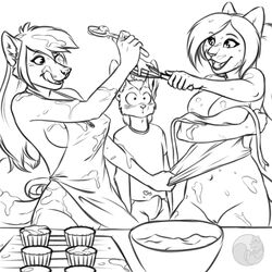 anthro apron black_and_white blush breasts canine clothed clothing cooking cream duo_focus erection erection_under_clothes feline female group heart hi_res kitchen male mammal messy monochrome naked_apron nateday navel pussy semira skimpy standing swanson